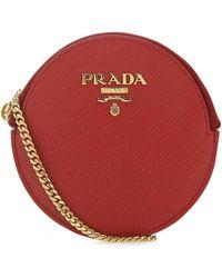 Prada Logo Chain Coin Pouch - Red