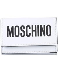 Moschino Leather Wallet With Logo Print - White