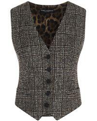 Dolce & Gabbana Prince Of Wales Leopard Patterned Vest - Black