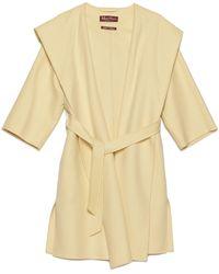 Max Mara Studio Belted Hooded Coat - Yellow