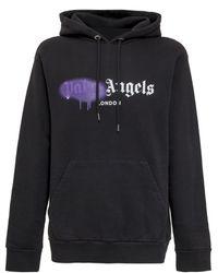 Palm Angels London Sprayed Logo Hoodie - Black