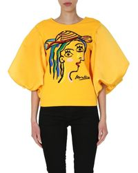 Moschino Embroidered Puff Sleeve Blouse - Yellow