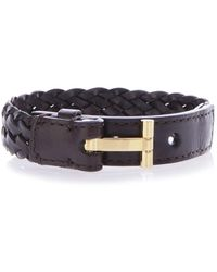 Tom Ford Brown Braided Leather Bracelet
