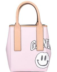 Ganni Smiley Face Print Small Tote Bag - Pink