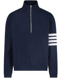 Thom Browne 4-bar Stripe Zipped Sweater - Blue