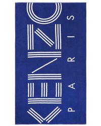 KENZO Logo Embroidered Beach Towel - Blue