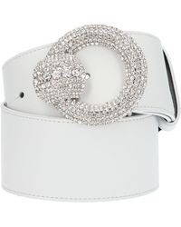 Alessandra Rich Embellished Buckle Belt - White