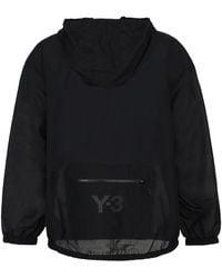 Y-3 Logo Printed Hooded Jacket - Black