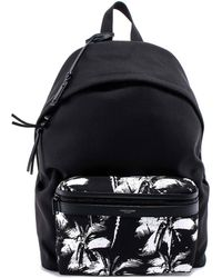 Saint Laurent City Palm Print Backpack - Black