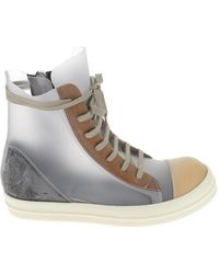 Rick Owens Phlegethon Panelled High-top Trainers - Grey