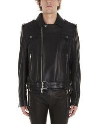 Balmain Fringed Leather Jacket - Black