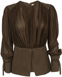 Chloé - Ruched Long Sleeve Blouse - Lyst