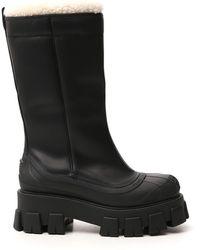 Prada Monolith Leather Boots - Black