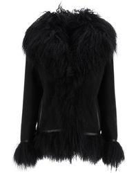 Saks Potts Bon Shearling Coat With Fur - Black