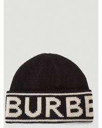 Burberry Logo Knit Beanie - Black