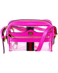 9a0690c13 Gucci Ophidia Transparent Cross Body Bag in Pink - Lyst
