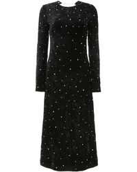 Miu Miu Velvet Dress With Crystals - Black