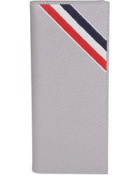 Thom Browne Rwb Striped Wallet - Gray