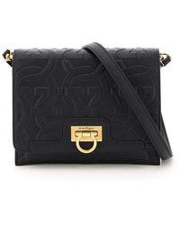Ferragamo Small Gancini Trifolio Shoulder Bag Os Leather - Black