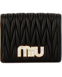 Miu Miu - Matelassé Embellished Logo Compact Wallet - Lyst