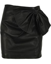 RED Valentino Bow Mini Leather Skirt - Black