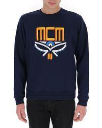 MCM Logo Embroidered Crewneck Pullover - Blue