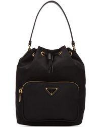 Prada Logo Bucket Bag - Black