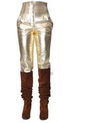 Alberta Ferretti Metallic Trousers
