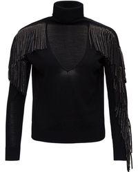 Pinko Rhinstone Fringe Pullover - Black