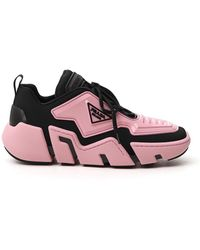 Prada Logo Plaque Chunky Sole Sneakers - Pink
