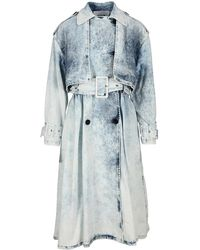 MSGM Denim Duster Coat - Blue