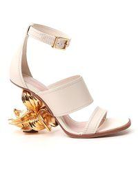 Alexander McQueen Flower Heel Sandals - White
