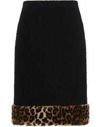 Moschino Leopard Trimmed Mini Skirt - Black