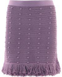 Bottega Veneta Knitted Fringed Mini Skirt - Purple