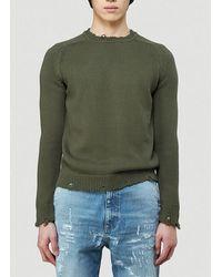 Saint Laurent Destroyed Knit Jumper - Green