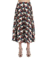 Valentino X Undercover Graphic Printed Pleated Skirt - Black