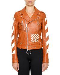 f2381039523e Off-White c o Virgil Abloh - Diagonal Stripe Printed Biker Jacket - Lyst