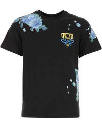 MCM Logo Floral Print T-shirt - Black