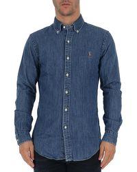 Polo Ralph Lauren Logo Embroidered Denim Shirt - Blue