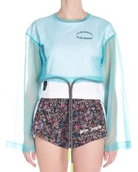 Palm Angels Sheer Layered T-shirt - Blue