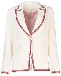 Veronica Beard Contrast Trimmed Blazer - White