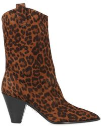 Aquazzura Boogie Cowboy Leopard Print Ankle Boots - Brown