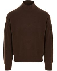 Z Zegna Funnel Neck Knitted Sweater - Brown