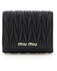 Miu Miu Matelassé Trifold Wallet - Black