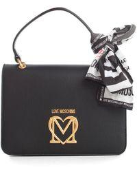Love Moschino Logo Plaque Scarf Tote Bag - Black