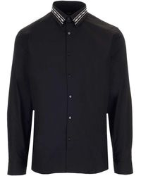Fendi Logo Tape Motif Collar Shirt - Black