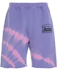 Aries Logo Printed Tie Dye Shorts - Purple