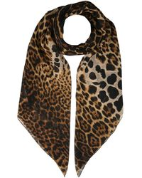Saint Laurent Leopard Wool Foulard - Brown