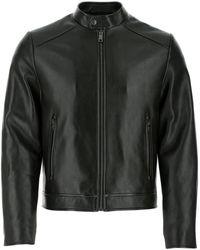 Prada Black Leather Jacket Nd Uomo