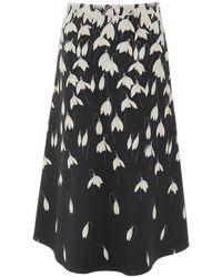 Valentino - Snowdrop Patterned Crêpe A-line Skirt - Lyst